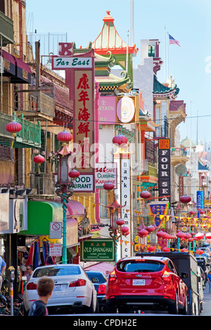 Street scene in China Town section of San Francisco, California, United States of America, North America - Stock Photo
