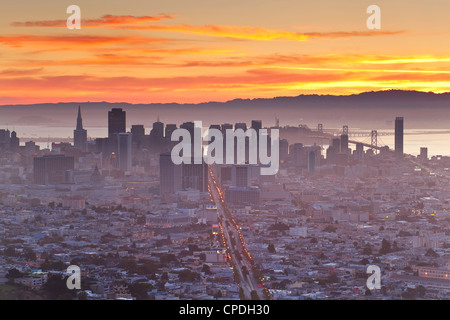 City skyline viewed from Twin Peaks, San Francisco, California, United States of America, North America - Stock Photo