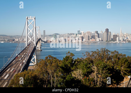 Oakland Bay Bridge and city skyline, San Francisco, California, United States of America, North America - Stock Photo