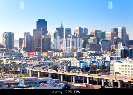 San Francisco skyline seen from Protero Hill neighborhood with traffic on the Highway, San Francisco, California, - Stock Photo