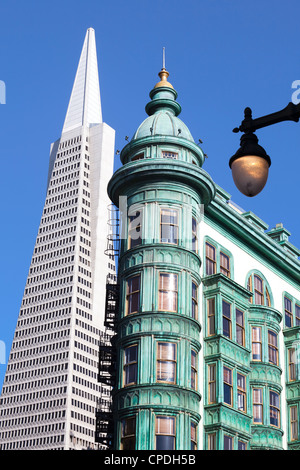 Trans America Building and Victorian architecture, San Francisco, California, United States of America, North America - Stock Photo