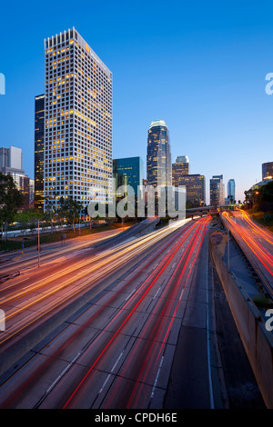 The 110 Harbour Freeway and Downtown Los Angeles skyline, California, United States of America, North America - Stock Photo
