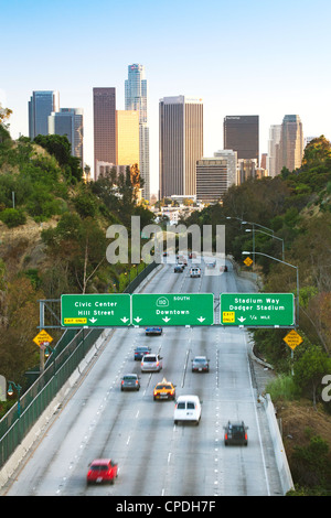Pasadena Freeway (CA Highway 110) leading to Downtown Los Angeles, California, United States of America, North America - Stock Photo