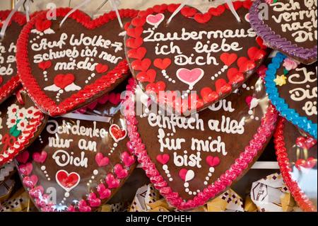 Decorative gingerbread cookies at the Stuttgart Beer Festival, Cannstatter Wasen, Stuttgart, Baden-Wurttemberg, - Stock Photo