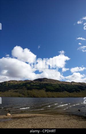 Loch Lomond shoreline and Ben Lomond Scotland UK - Stock Photo