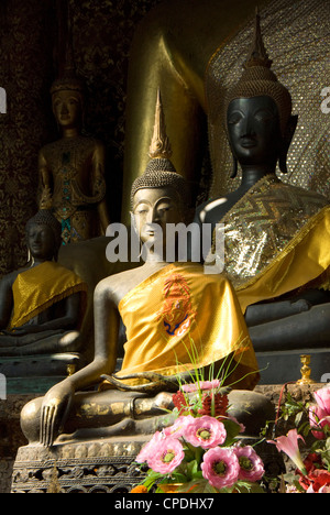 Sitting Buddhas in the Main Temple, Wat Xieng Thong, Luang Prabang, Laos, Indochina, Southeast Asia, Asia - Stock Photo