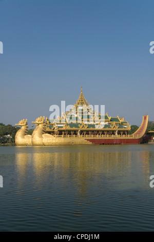 Karaweik Barge, Kandawgyi Lake, Yangon (Rangoon), Myanmar (Burma), Asia - Stock Photo