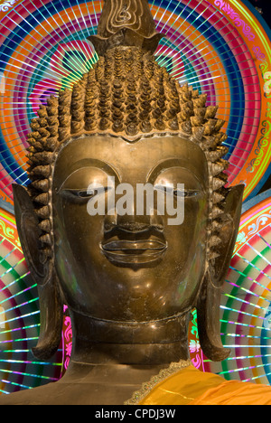 Head of a statue of the Buddha, Wat Ong Teu, Vientiane, Laos, Indochina, Southeast Asia, Asia - Stock Photo