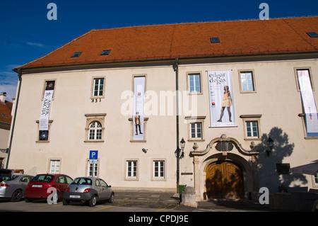 Klovicevi dvori palace housing modern art gallery with exhibitions at Jezuitski trg square Gradec the old town Zagreb - Stock Photo