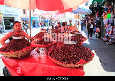 Vendor selling chapulines (fried grasshoppers), Oaxaca City, Oaxaca, Mexico, North America - Stock Photo