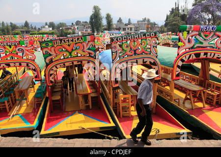 Brightly painted boats, Xochimilco, Trajinera, Floating Gardens, Canals, Mexico City, Mexico, North America - Stock Photo