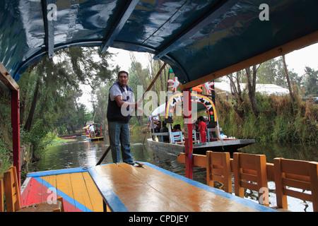 Boats, Xochimilco, Trajinera, Floating Gardens, Canals, UNESCO World Heritage Site, Mexico City, Mexico, North America - Stock Photo