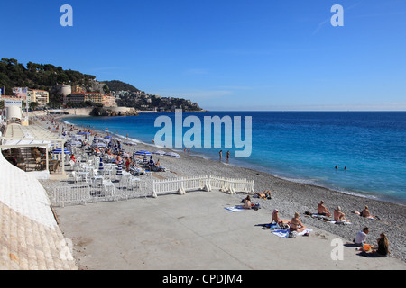 Beach, Nice, Alpes Maritimes, Cote d'Azur, French Riviera, Provence, France, Europe - Stock Photo