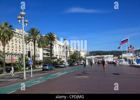 Promenade des Anglais, Nice, Alpes Maritimes, Cote d'Azur, French Riviera, Provence, France, Europe - Stock Photo