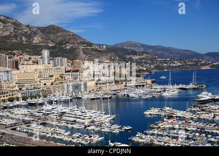 Port Hercule, Harbor, Monte Carlo, Monaco, Cote d'Azur, Mediterranean, Europe - Stock Photo