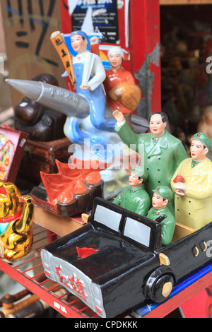 Vintage Communist ceramics for sale in Hollywood Road antiques district, Hong Kong Island, Hong Kong, China, Asia - Stock Photo
