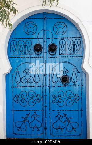 Door in Sidi Bou Said, Tunisia, North Africa, Africa - Stock Photo