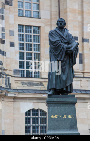 Martin Luther statue in Dresden, Saxony, Germany, Europe - Stock Photo