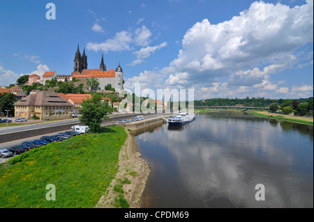 Cruise ship on the River Elbe below the Albrechtsburg, Meissen, Saxony, Germany, Europe - Stock Photo