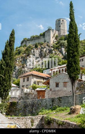 The Citadel overlooking the town of Pocitelj, Bosnia Herzegovina, Europe - Stock Photo