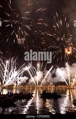 The amazing fireworks display during the night of Redentore celebration in the basin of St. Mark, Venice,Veneto, - Stock Photo