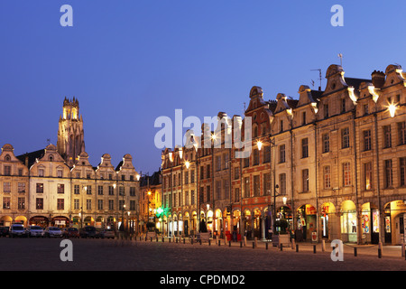 Flemish Baroque architecture at night on the Petite Place (Place des Heros), Arras, Nord-Pas de Calais, France, - Stock Photo