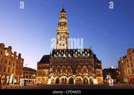Gothic Town Hall (Hotel de Ville) and Belfry tower, Petite Place (Place des Heros), Arras, Nord-Pas de Calais, France, - Stock Photo
