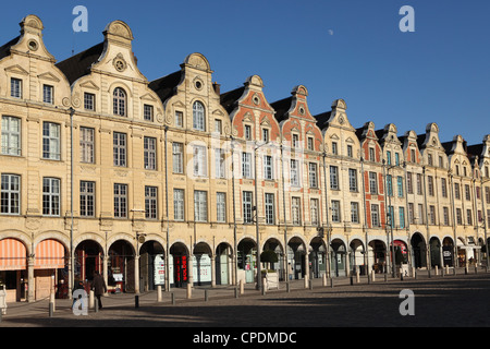 Flemish Baroque facades at the cobbled Petite Place (Place des Heros), Arras, Nord-Pas de Calais, France, Europe - Stock Photo