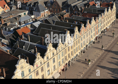 Rooftops and Flemish Baroque facades face onto the Petite Place (Place des Heros), Arras, Nord-Pas de Calais, France, - Stock Photo