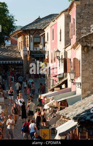 Old town, Mostar, municipality of Mostar, Bosnia and Herzegovina, Europe - Stock Photo