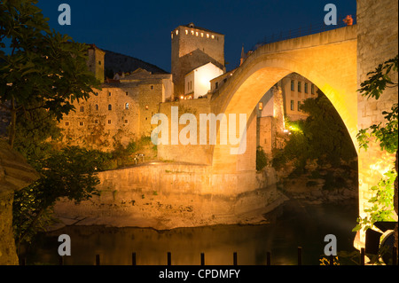 Stari Most (Old Bridge), UNESCO World Heritage Site, Mostar, municipality of Mostar, Bosnia and Herzegovina, Europe - Stock Photo
