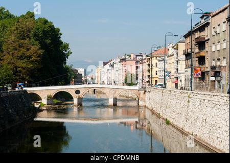 Latinska Cuprija (Latin Bridge) over Miljacka River, place of murder of Archduke Ferdinand, Sarajevo, Bosnia and - Stock Photo