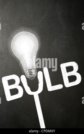 A light bulb and the word bulb drawn in chalk on a blackboard - Concept - Stock Photo