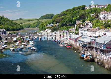 Looking towards the harbour and bridge in Looe, Cornwall, England, United Kingdom, Europe - Stock Photo