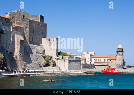 The Chateau-Royal and the Church of Notre-Dame-des-Anges, Cote Vermeille, Languedoc-Roussillon, France - Stock Photo