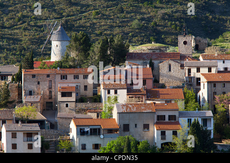 View of the windmill at Cucugan in Languedoc-Roussillon, France, Europe - Stock Photo