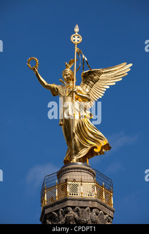 Statue of Victoria atop Siegessaule. Berlin, Germany - Stock Photo