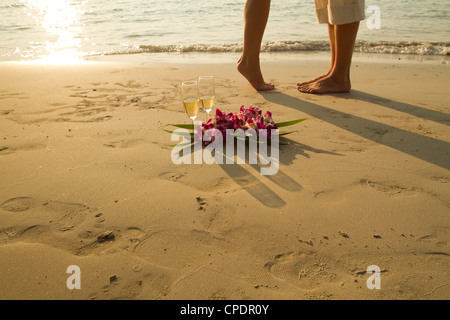 wedding couple on the paradise beach - with place for the text - Stock Photo