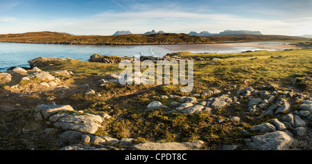 The mountains of Inverpolly from Achnahaird Bay, Highlands, Scotland, UK - Stock Photo