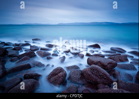 Looking towards The Cuillin on the Isle of Skye from Applecross at dawn, Highlands, Scotland, UK - Stock Photo
