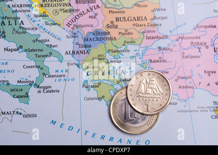 Economic crisis in Greece, the future of euro. the passage at dracma currency. - Stock Photo