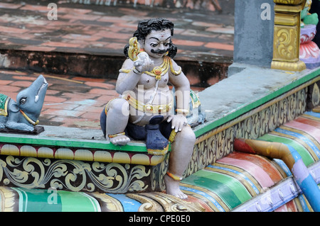 intricate artwork at ancient hindu temple - Stock Photo
