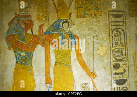 Bas-relief painted on the walls of the royal tomb, Setnakht tomb, Valley of the Kings, Thebes, Egypt, Africa - Stock Photo