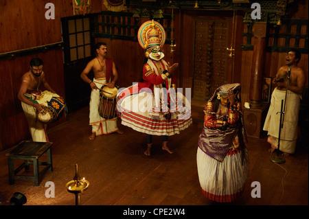 Kathakali dancers, Fort Cochin, Kerala, India, Asia - Stock Photo