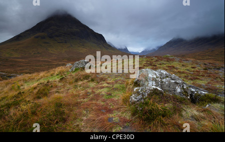 Low cloud hangs over Glencoe, Argyll, Scotland, United Kingdom, Europe - Stock Photo