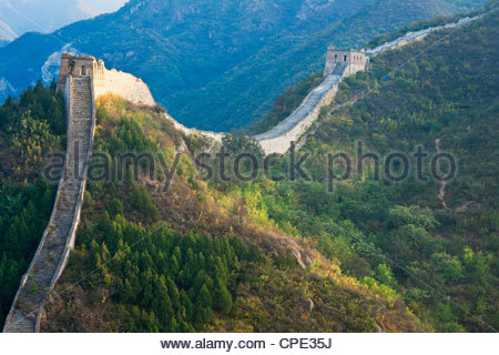 Overview of weathered section, Great Wall of China, Huanghuacheng (Yellow Flower), Wild Wall, Jiuduhe town, Huairou, - Stock Photo
