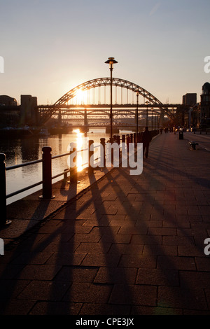 Tyne Bridge at sunset, spanning the River Tyne between Newcastle and Gateshead, Tyne and Wear, England, United Kingdom, - Stock Photo
