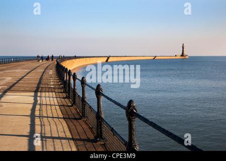 Roker Pier and Lighthouse, Sunderland, Tyne and Wear, England, United Kingdom, Europe - Stock Photo