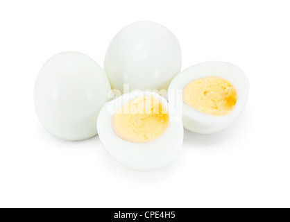 Hard boiled eggs isolated on white - Stock Photo