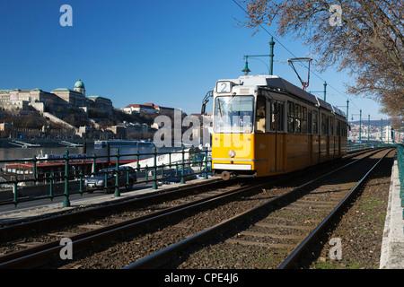 Tram alongside the Danube River, Pest, Budapest,  Hungary, Europe